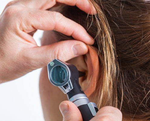A professional hearing check-up at the doctor's