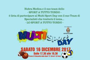 Nubra Medica e il suo team dello- SPORT A TUTTO TONDO -è lieta di partecipare al Multi Sport Day con il suo Team di Specialisti che tratterà il tema...-2