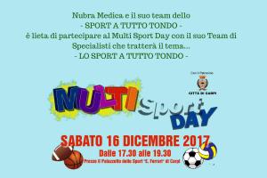Nubra Medica e il suo team dello- SPORT A TUTTO TONDO -è lieta di partecipare al Multi Sport Day con il suo Team di Specialisti che tratterà il tema...-3