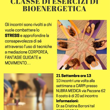 IL CORPO E LO STRESSCLASSE DI ESERCIZI DI BIOENERGETICA