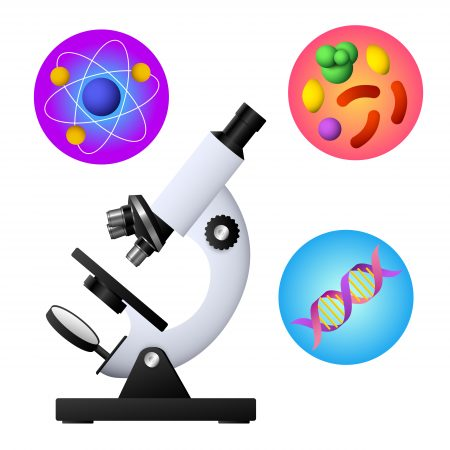 Microscope, DNA, bacterium and atom vector illustration. Study, laboratory, research. Education concept. Vector illustration can be used for topics like school, science, biology